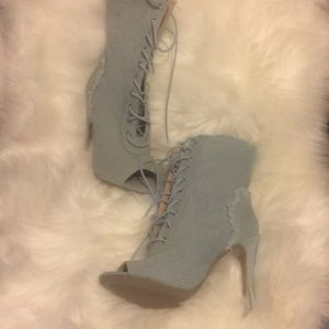 Denim wild diva high heels (size 6 )